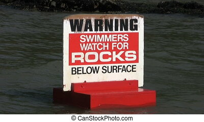 "Watch For Rocks Sign - A ""Warning - Swimmers Watch For Rocks..."