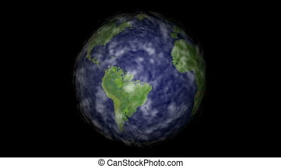 Rotating earth with clouds loop - Rotating earth with moving...