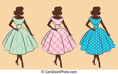 Vintage silhouette of girls.