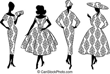 Vintage silhouette of girls