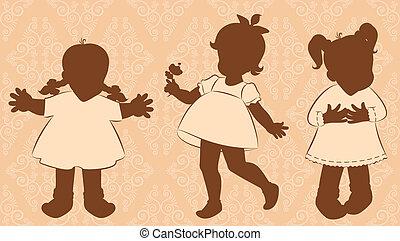 Vintage cartoon little girls.
