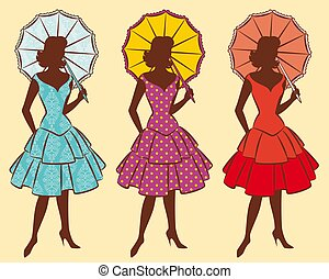 silhouette of girl with umbrella - Vintage silhouette of...
