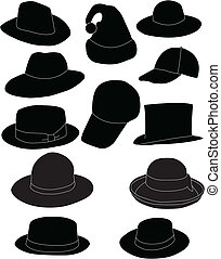 Collection of hats - vector