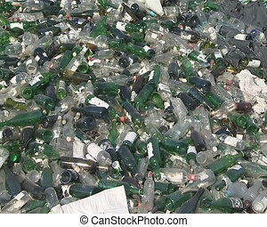 Glass bottle recycling - Large clean glass bottle pile ready...