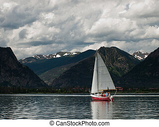 Sailboats on Mountain Lake - Sailing on mountain lake in the...