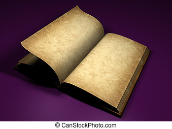 old book on the purple background - 3d rendered