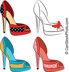 beautiful set of shoes with high he - Vector beautiful set...