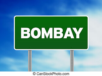 Green Road Sign - Bombay
