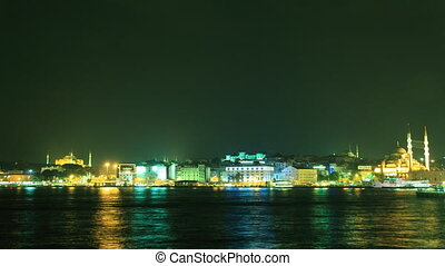 Golden Horn bay in Istanbul timelap - View to Eminn Ferry...