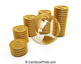 gold coins and globe - dollar symbol gold coins pile and...