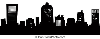 Cartoon New Haven Skyline - Cartoon skyline silhouette of...