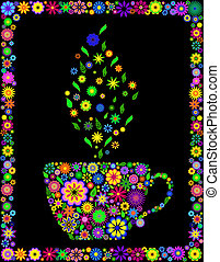 Vector illustration of flower cup of tea isolated