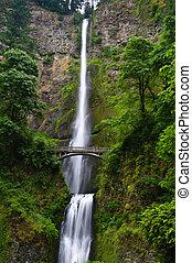Multnomah Falls showing foot bridge