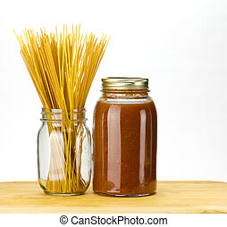 Pasta and tomato sauce - Pasta and homemade tomato sauce in...
