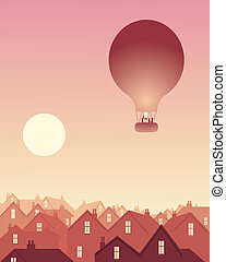 rooftops with balloon