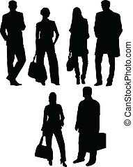 business people silhouette - vector