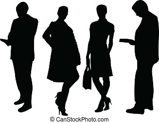 business people silhouette - illustration of business people...