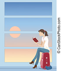 waiting for a plane - an illustration of a woman sat on a...