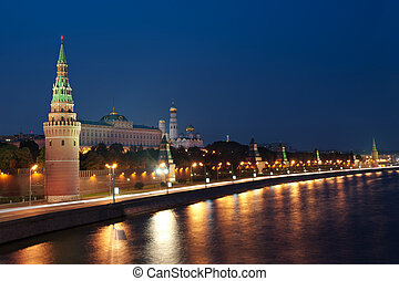 Tower and wall of Moscow Kremlin at night Russia