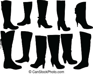 Elegance boots collection - vector - illustration of...