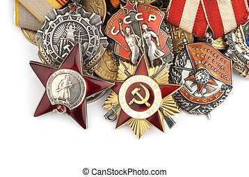 World War II Russian military medals isolated over white