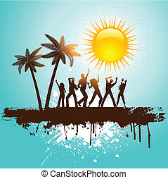 Grunge tropical party background - Silhouettes of people...