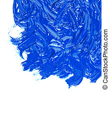 blue oil paint on a white background