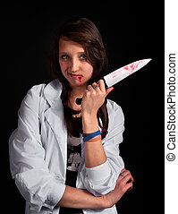 enojado, Enfermera, sangriento, cuchillo, encima, negro