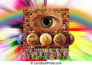 wall, rainbow and eye - A wall of precious stones with...