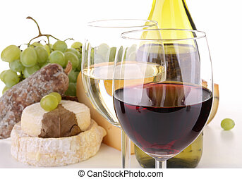 red and white wineglass - glass of wine with cheese...