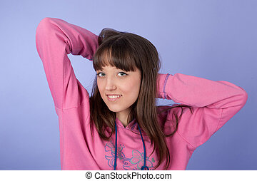 happy beautiful young woman - Closeup portrait of a happy...