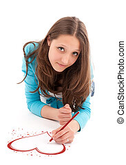 young woman draws a pencil on a white floor. Isolated on...