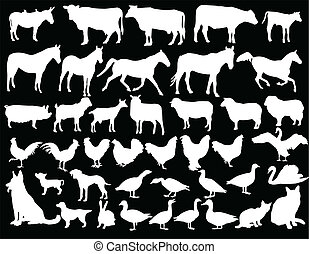 farm animals with background - illustration of farm animals...