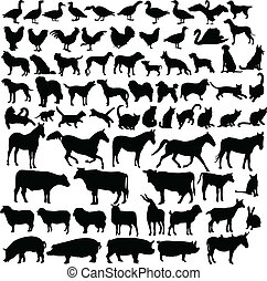 farm animals - vector - illustration of farm animals -...
