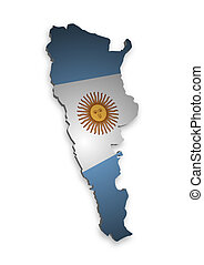Argentina - 3D outline of Argentina with flag