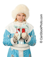snow maiden smiling girl with a gift box