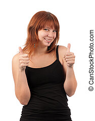 Beautiful young girl with thumbs up