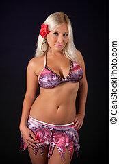 Sexy blond woman wearing bikini