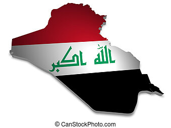 Iraq - 3D outline of Iraq with flag