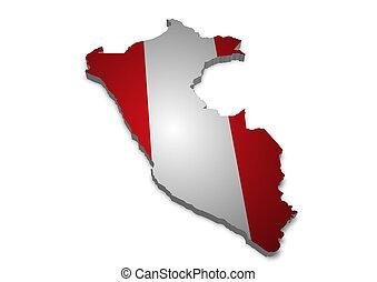 Peru - 3D outline of Peru with flag