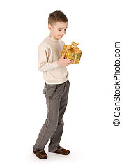 Child with a gift box isolated over white