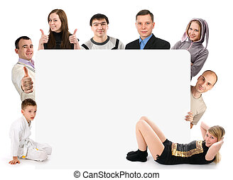 Group of young people holding a blank board