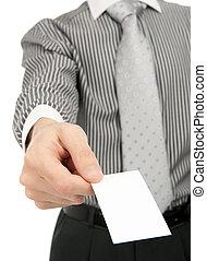 Business man handing a blank business card