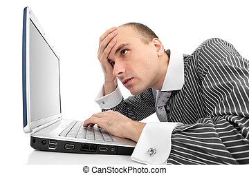 Worried businessman with computer isolated on white