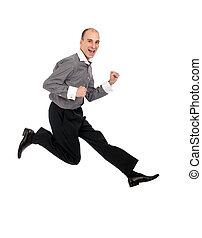 Businessman jumping isolated on a white background