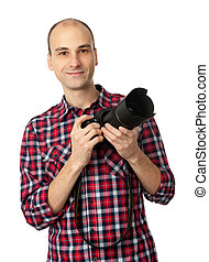 man with professional camera - photographer, young man with...