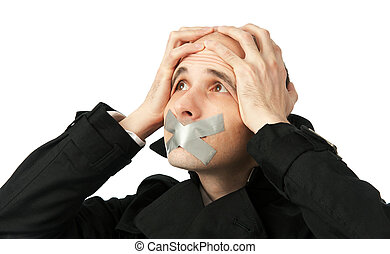 Businessman with his Mouth Taped shut - Young business man...