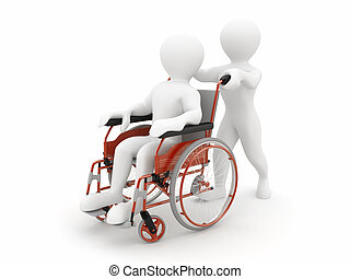 Men on wheelchair 3d - Men on wheelchair on white isolated...