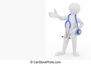 Men with stethoscope - Men with stethoscope on white...