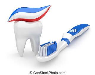 Tooth and toothbrush. 3d - Tooth and toothbrush on white...